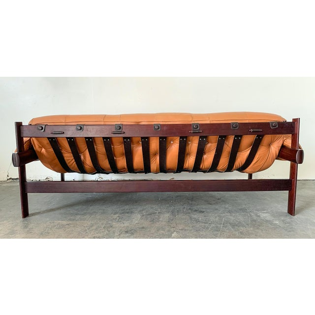 Percival Lafer Percival Lafer Cognac Leather and Brazilian Rosewood Sofa Mp-41 Series For Sale - Image 4 of 11