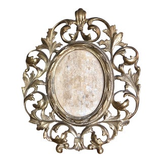 Rococo Ornate Gold Brass Oval Picture Frame For Sale