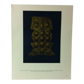 """Circa 1960 """"Sheet Gold Pectoral From the Headwaters of the Sinu River"""" Treasures of Ancient America Mounted Print For Sale"""