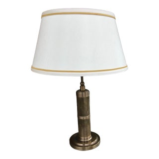 Visual Comfort Thomas O'Brien Longacre Small Table Lamp in Hand-Rubbed Antique Brass With Shade For Sale
