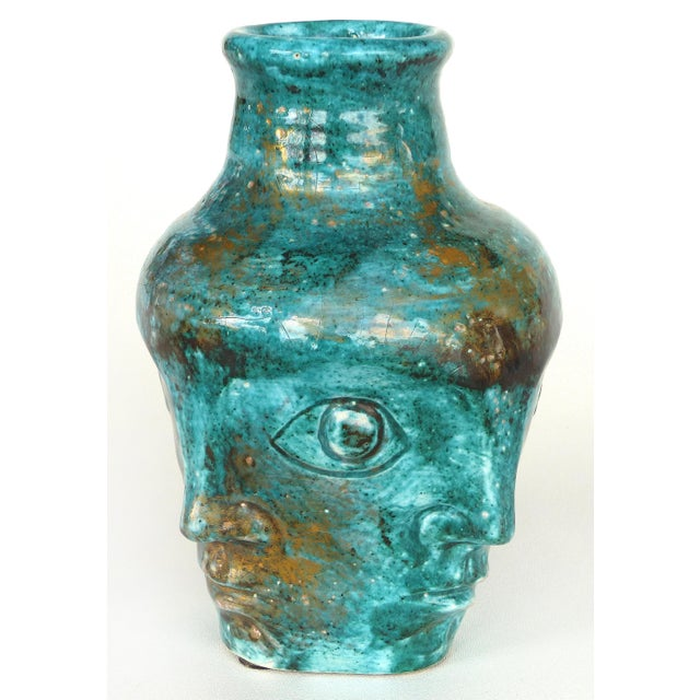 Edouard Cazaux Edouard Cazaux French Mid-Century Ceramic Vase With Faces For Sale - Image 4 of 10