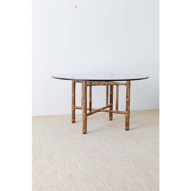 McGuire Organic Modern Bamboo Rattan Round Dining Table For Sale - Image 10 of 13
