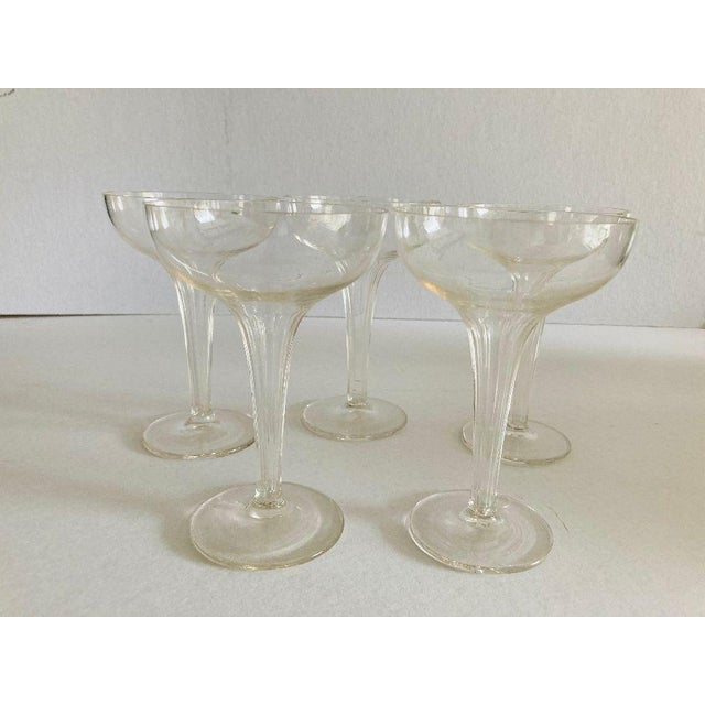 Glass Mid-Century Ribbed Hollow Stem Champagne Glasses - Set of 5 For Sale - Image 7 of 7