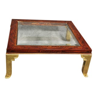 Chinoiserie & Brass Red Lacquer Square Coffee Table Attributed to Mastercraft For Sale