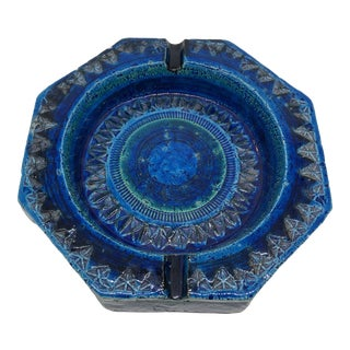 Aldo Londi Bitossi Rimini Blue Italian Pottery Tray For Sale