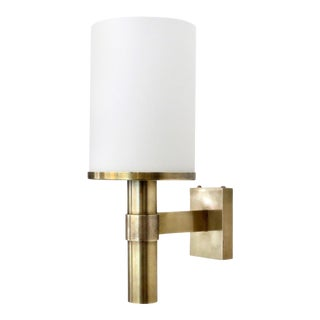 French Atelier Jean Perzel Single Vintage Brass and Frosted Glass Wall Sconce For Sale