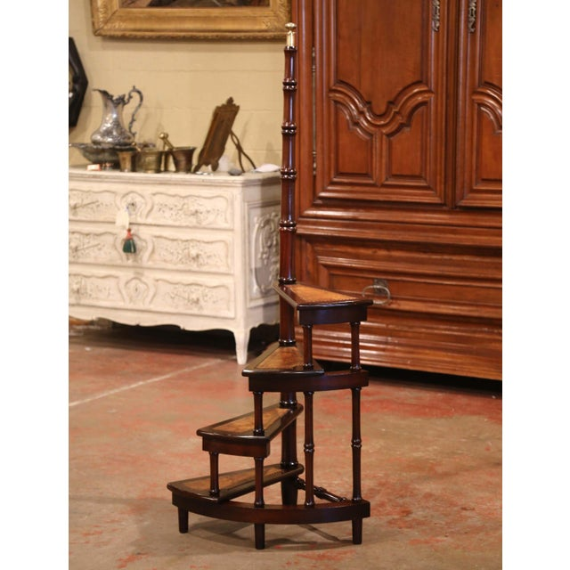 English Mid-20th Century English Carved Mahogany and Leather Spiral Step Library Ladder For Sale - Image 3 of 9