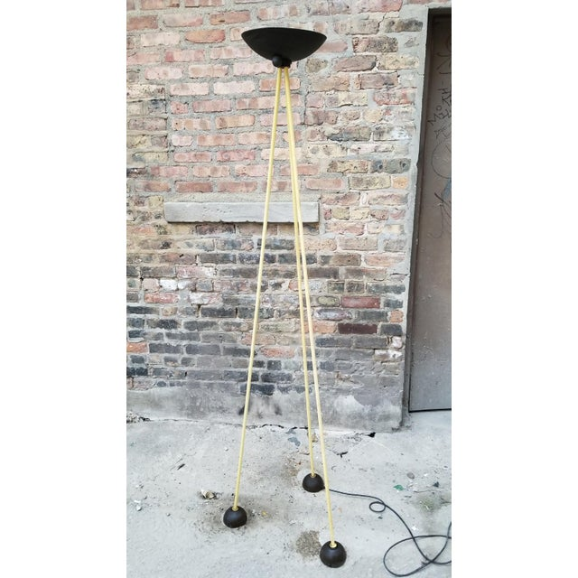 1980s Vintage Post Modern Tripod Halogen Floor Lamp in the Style of Memphis by Koch and Lowy in Black and Yellow For Sale - Image 5 of 5