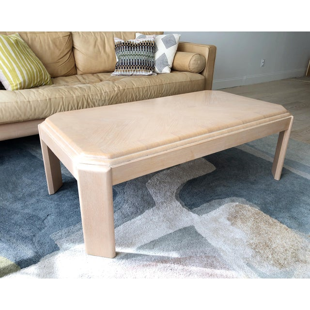 Modern 1980s Modern Tiered White-Washed Solid Wood Coffee Table For Sale - Image 3 of 10