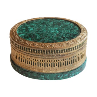 A Finely Chased Russian Gilt-Bronze & Malachite Oval Jewel Box