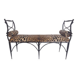 Chinoiserie Lacquered Velvet Leopard Bench For Sale