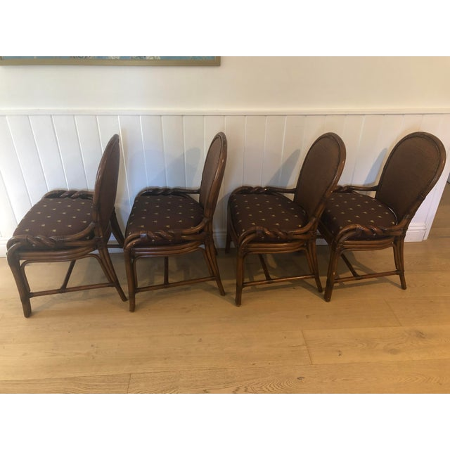 Palecek Twist Side Chairs in really good condition. Gorgeous frames for a coastal setting with classic fabric that will...