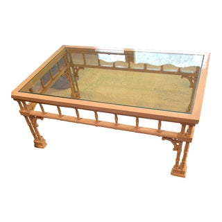 1970s Hollywood Regency Faux Bamboo Glass Top Coffee Table For Sale