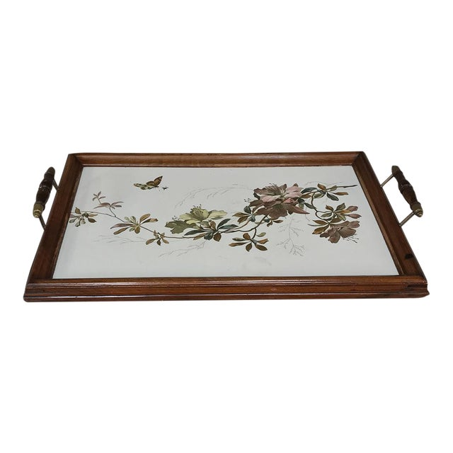 Antique Hand-Painted Tile Serving Tray For Sale