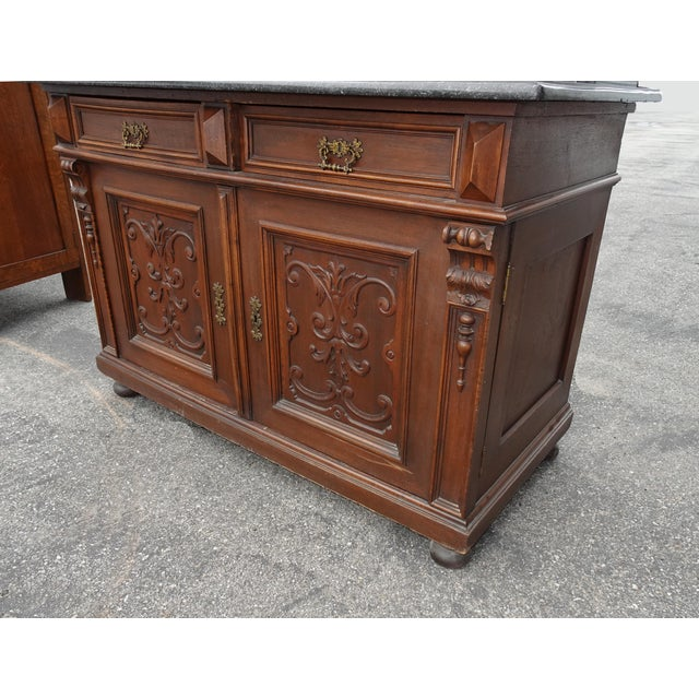 Wood Antique Ornate French Victorian Renaissance Revival Dresser Credenza W Marble For Sale - Image 7 of 12