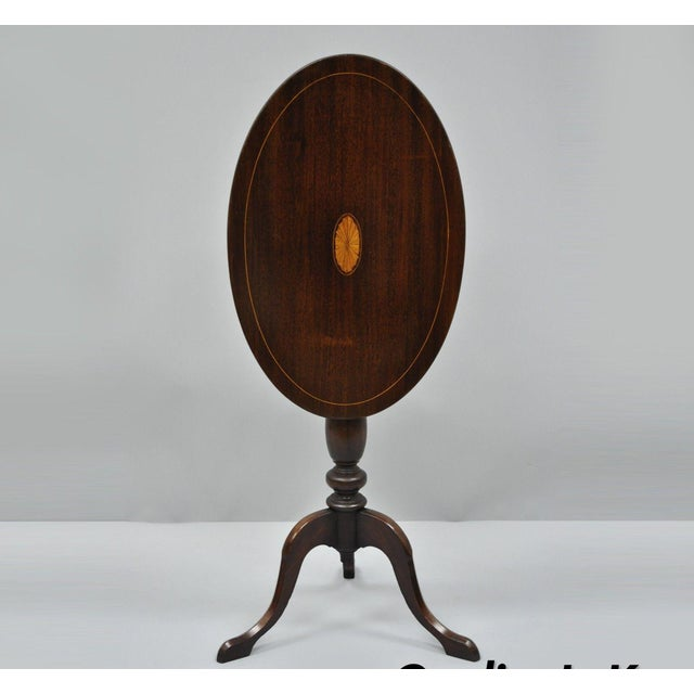Early 20th Century Antique Mahogany Pinwheel Inlaid Oval Tilt Top End Table For Sale - Image 13 of 13
