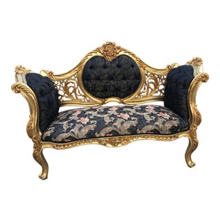Custom Made Black Damask French Louis XVI Style Settee. Made to Order For Sale