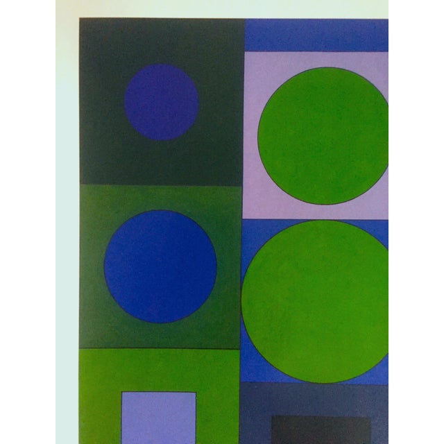 "2000s Victor Vasarely Vintage Op Art Modernist Geometric Lithograph Print "" Alphabet v.b. "" 1960 For Sale - Image 5 of 13"