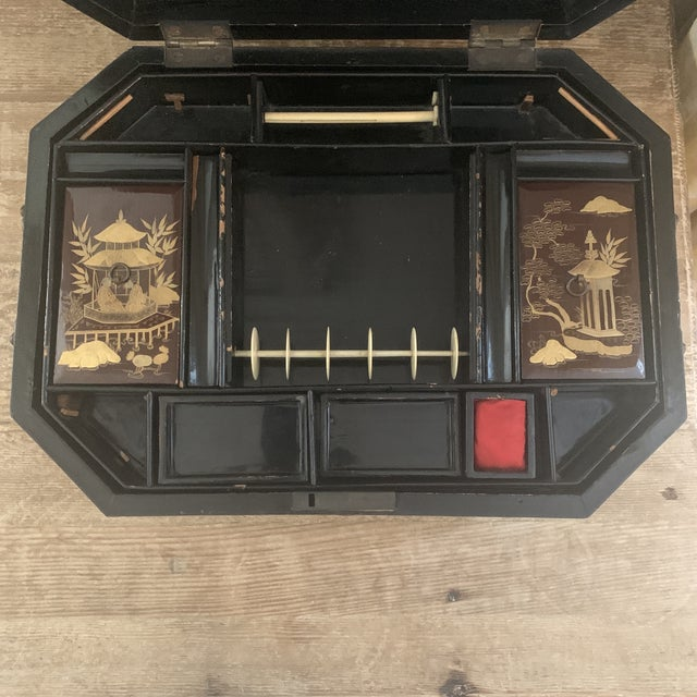 Antique Chinese Iron Red Lacquered Sewing Box on Feet With Drawer For Sale - Image 9 of 12
