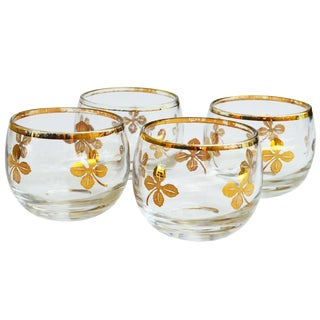 Midcentury Gold-Leaf Design Glasses, S/4 For Sale