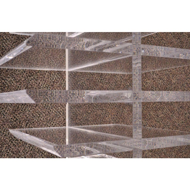 Transparent 1960s Mid Century Modern Sculptural Lucite Grid Oval Coffee Table For Sale - Image 8 of 11