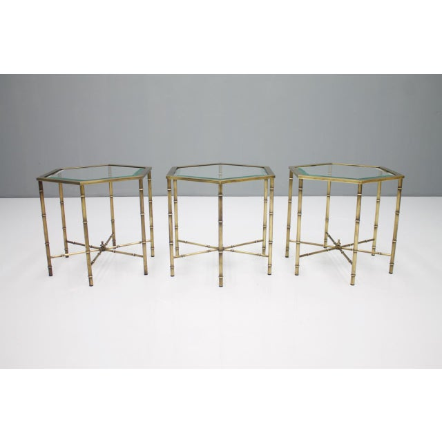 Gold Set of Three Octagonal Side Table in Brass and Glass, 1970s For Sale - Image 8 of 12