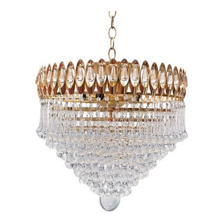 Mid-Century Gold Frame Layered Teardrop Crystal Chandelier For Sale
