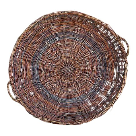 Large French Woven Willow Grape Harvest Basket - Image 1 of 9