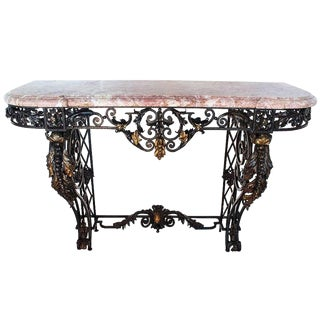Early 18th Century Antique French Wrought Iron and Marble-Top Console Table For Sale