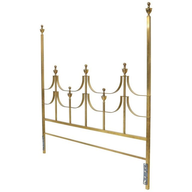 Solid Brass Mastercraft King Size Tall Headboard Bed For Sale - Image 10 of 10
