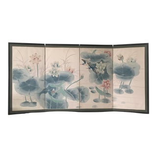 1970's Vintage Chinese Byobu Folding Screen For Sale