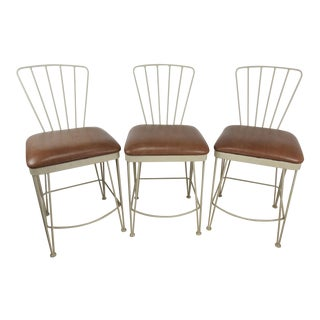 Late 20th Century Vintage Iron Counter Stools by Amisco- Set of 3 For Sale