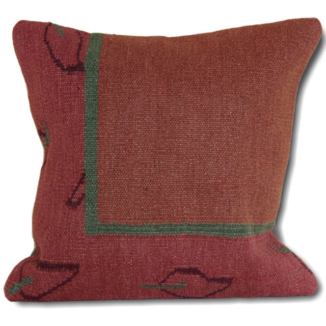 1970s Turkish Kilim Rug Pillow For Sale - Image 5 of 5