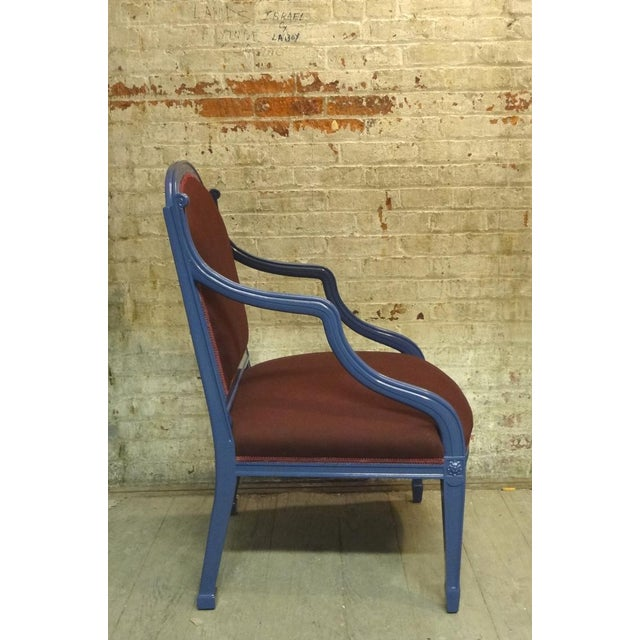 A Hepplewhite style open armchair with a gracefully curved and outward sweeping arm. Available in custom finishes....