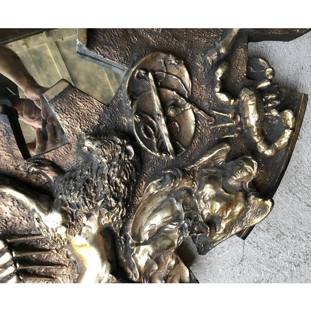 Brass Vintage Finesse Originals Zodiac Mirror Brutalist For Sale - Image 8 of 13