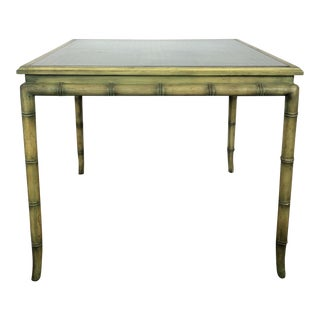 Hollywood Regency Faux Bamboo and Cane Table For Sale