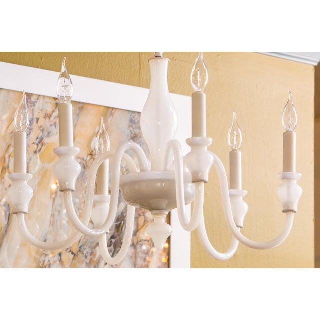 Murano White Glass Murano Chandelier For Sale - Image 4 of 6