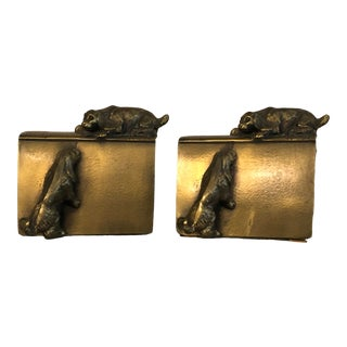 1950s Brass Dog Bookends- A Pair For Sale