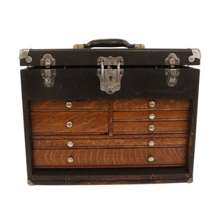 Early 20th Century Antique Black Machinist Chest For Sale