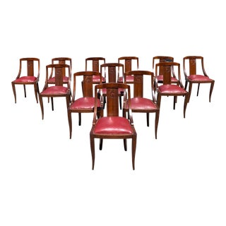 "1940s French Art Deco ""Gondola"" Solid Mahogany Dining Chairs - Set of 12 For Sale"