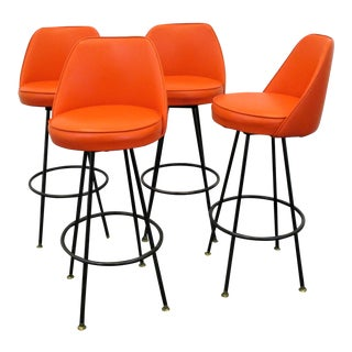Mid Century Modern Swivel Bar Stools With Original Orange Upholstery- Set of 4 For Sale