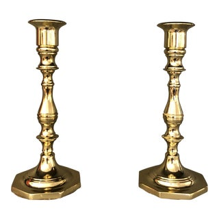 Mid Century Brass Candleholders by Baldwin - A Pair For Sale