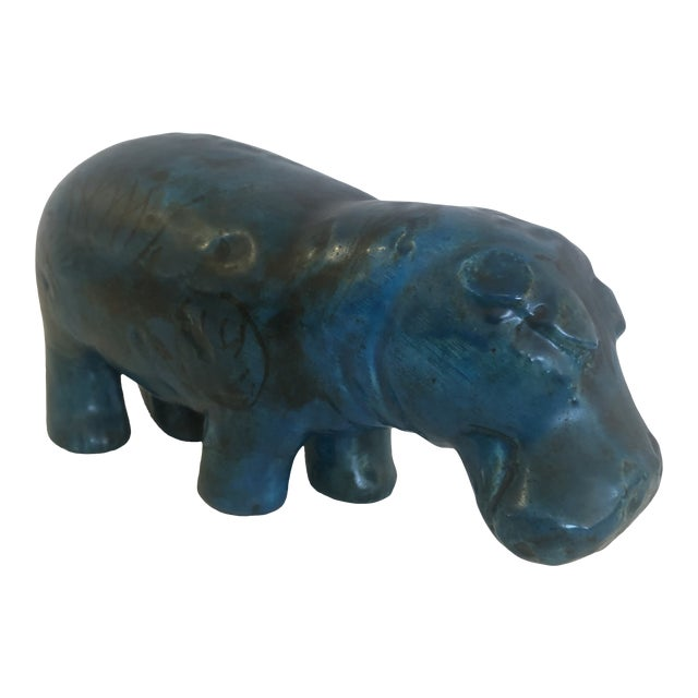 Bitossi Style Mid-Century Modern Turquoise Marble Hippo Sculpture For Sale