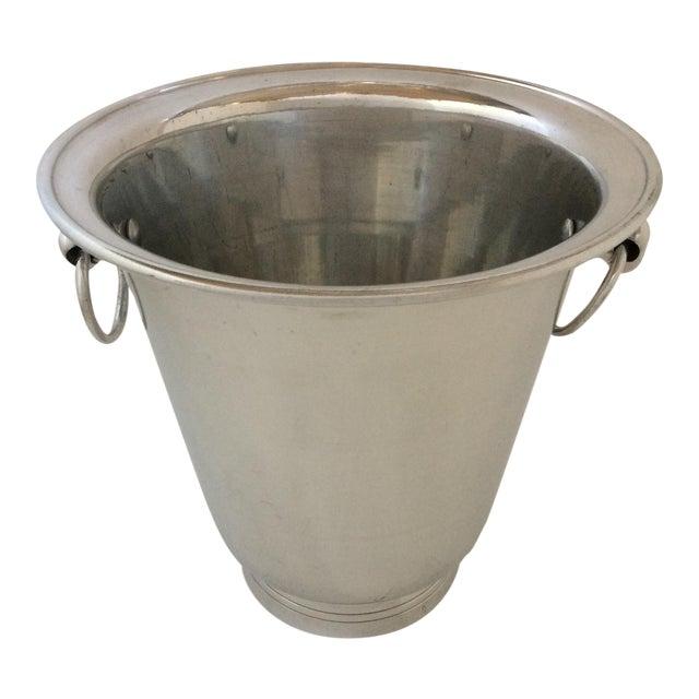 Vintage Polished Aluminum Drop Bail Knob Handled Ice Bucket For Sale