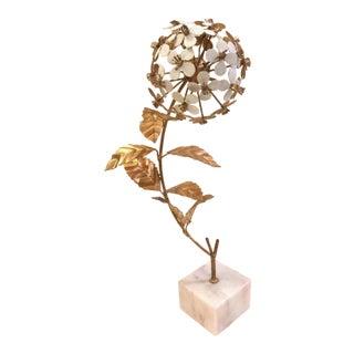 Hollywood Regency Metal Flower Sculpture