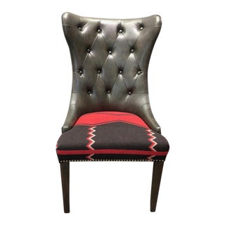 Traditional Tufted Accent Chair With Ralph Lauren Wool For Sale