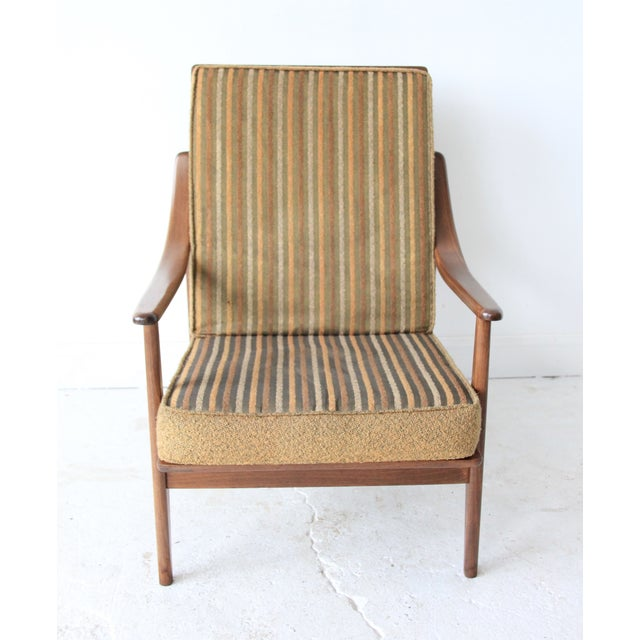 Vintage Mid Century Striped High Back Lounge Chair - Image 2 of 6