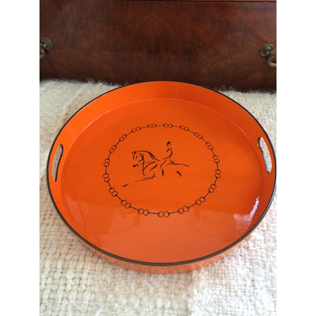 Equestrian Motif Hermes Style Orange Lacquered Serving Bar Tray For Sale - Image 10 of 11
