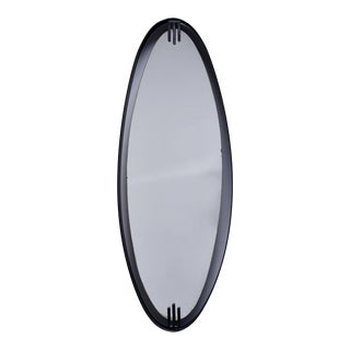 Mid Century Oval Mirror With Iron Floating Style Frame For Sale