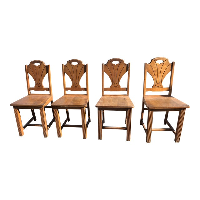 Art Deco Style Wooden Side Dining Chairs -Set of 4 For Sale